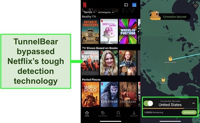 Screenshot of TunnelBear connected to a US server with Netflix showing US-only content.