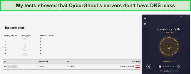 Screenshot of CyberGhost's DNS and IP leak tests.