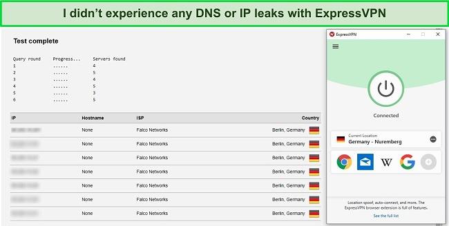 Screenshot of ExpressVPN passing IP and DNS leak tests.