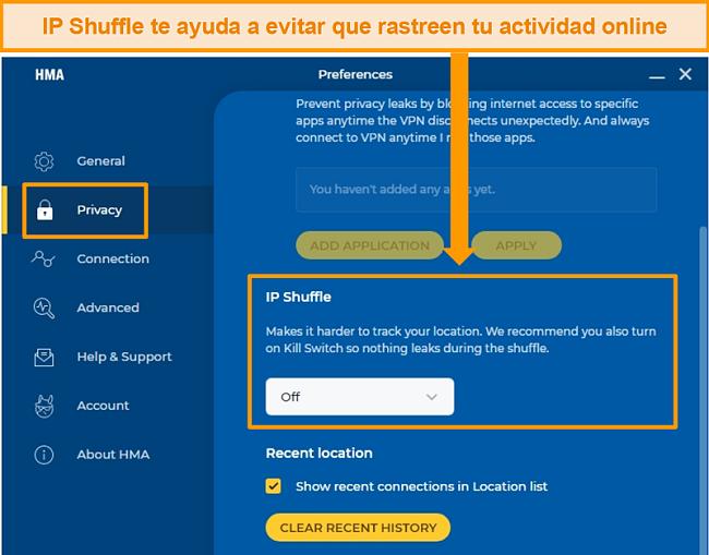 Captura de pantalla de la configuración de IP Shuffle de HMA, que permite a los usuarios cambiar periódicamente su dirección IP.