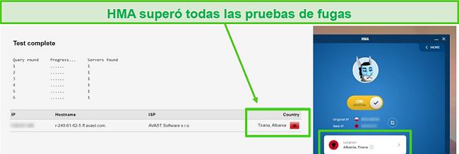 Captura de pantalla de HMA pasando una prueba de DNS mientras está conectado a un servidor albanés.