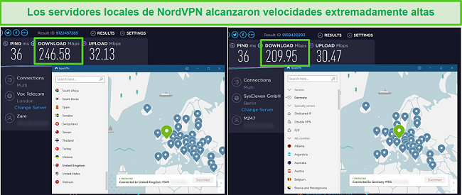 Captura de pantalla de los servidores de NordVPN que se están probando la velocidad, alcanzando 246 Mbps en el Reino Unido y 209 Mbps en Alemania.