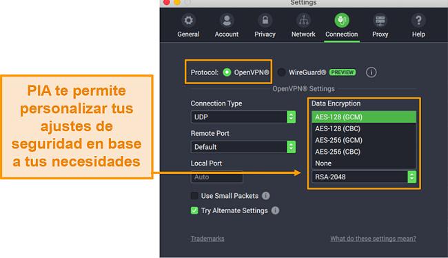 Captura de pantalla de la configuración de la conexión PIA que muestra funciones personalizables