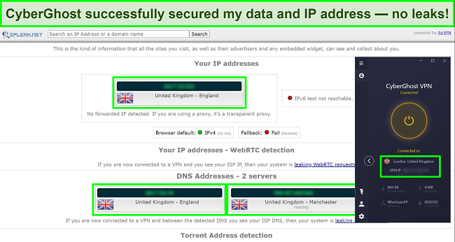 Screenshot of CyberGhost's high-level VPN encryption.