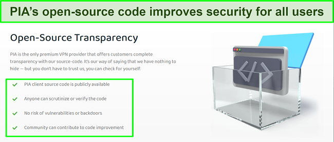 Screenshot of PIA's website with details of its open-source code transparency.