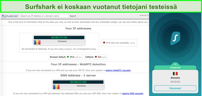 Näyttökuva, josta näkyy Surfsharkin läpäissyt IP-, DNS- ja WebRTC-vuototestit