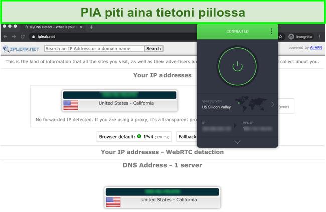 Näyttökuva, josta näkyy PIA läpäissyt IP-, DNS- ja WebRTC-vuototestit