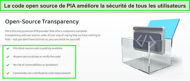 Capture d'écran du site Web de PIA avec des détails sur la transparence de son code open source.