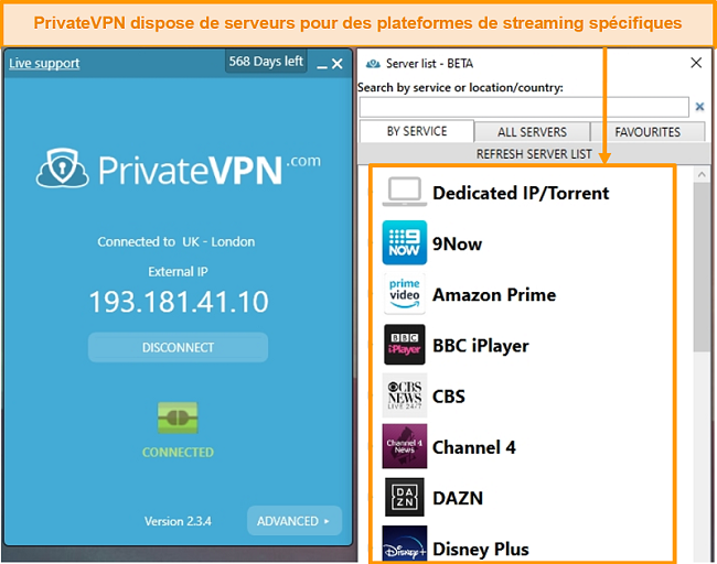 Capture d'écran de l'application Windows de PrivateVPN montrant ses serveurs de streaming optimisés.