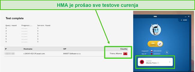 Snimka zaslona HMA-a koji prolazi DNS test dok je povezan s albanskim poslužiteljem.