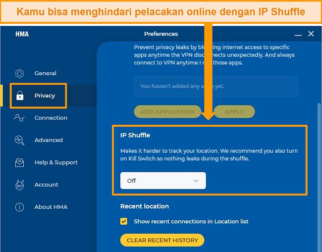 Tangkapan layar dari pengaturan Shuffle IP HMA, memungkinkan pengguna untuk mengubah alamat IP mereka secara berkala.