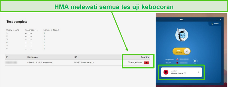Tangkapan layar HMA yang lulus uji DNS saat tersambung ke server Albania.