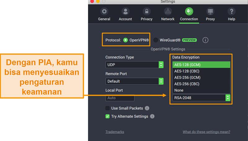 Tangkapan layar pengaturan koneksi PIA yang menunjukkan fitur yang dapat disesuaikan