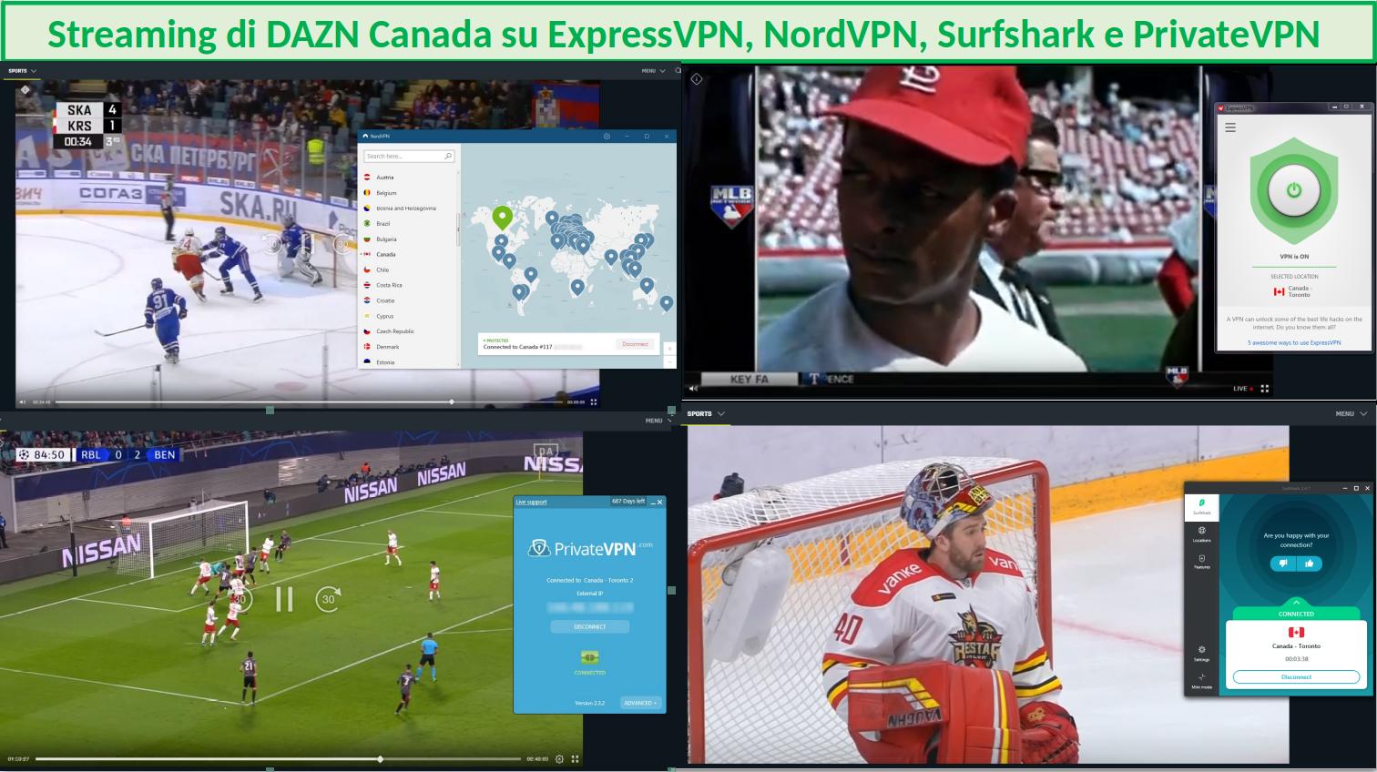 Streaming DAZN con ExpressVPN, NordVPN, SurfShark e PrivateVPN