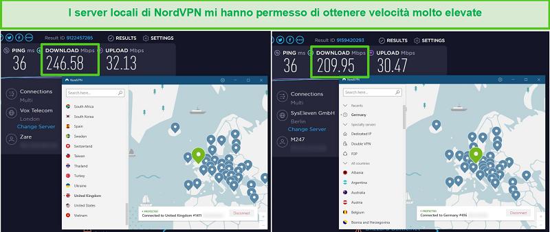 Screenshot dei server NordVPN testati per la velocità, raggiungendo 246 Mbps nel Regno Unito e 209 Mbps in Germania.