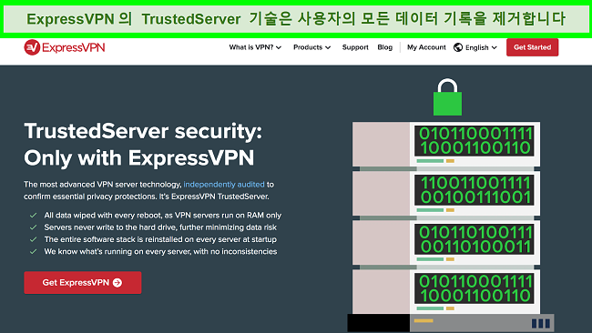 TrustedServer 기술을 설명하는 ExpressVPN 웹 사이트 페이지 스크린 샷