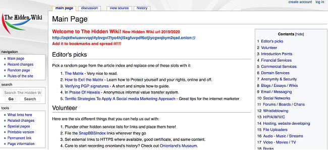 Tor 브라우저의 The Hidden Wiki 스크린 샷