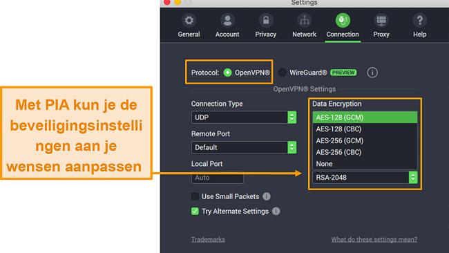 Screenshot van PIA-verbindingsinstellingen met aanpasbare functies