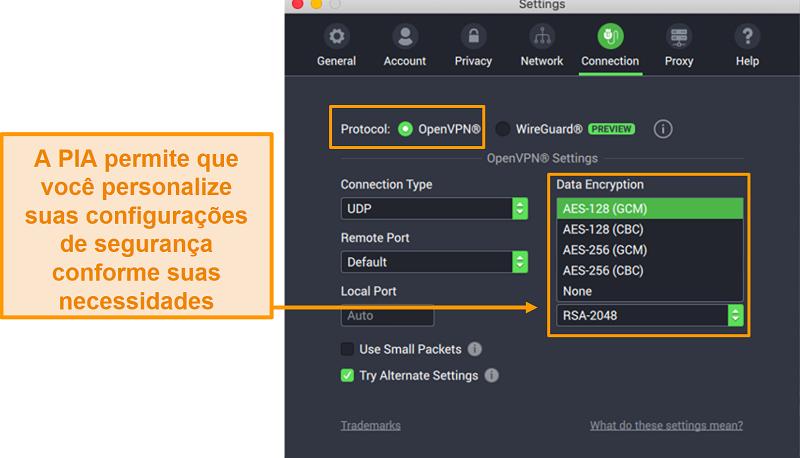 Captura de tela das configurações de conexão PIA mostrando recursos personalizáveis