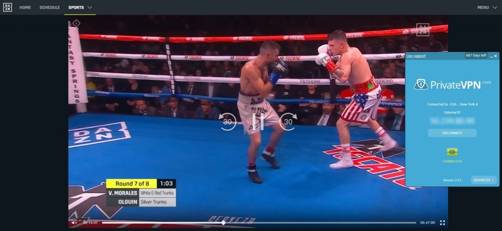 screenshot of PrivateVPN streaming boxing match on DAZN US