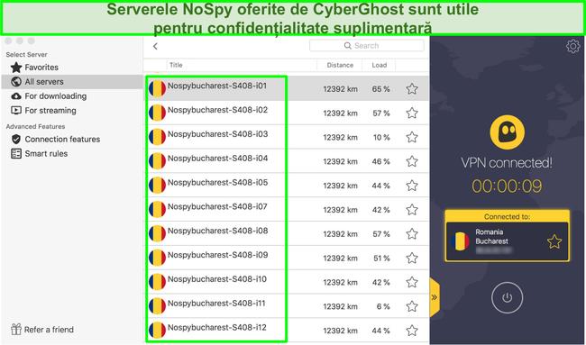 Captură de ecran Interfața CyberGhost VPN care prezintă serverele sale NoSpy