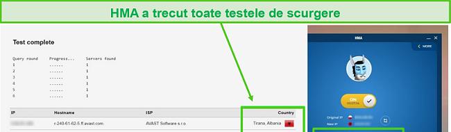Captură de ecran a HMA care trece un test DNS în timp ce sunteți conectat la un server albanez.