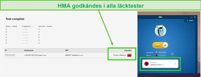 Skärmdump av HMA som skickar ett DNS-test när den är ansluten till en albansk server.
