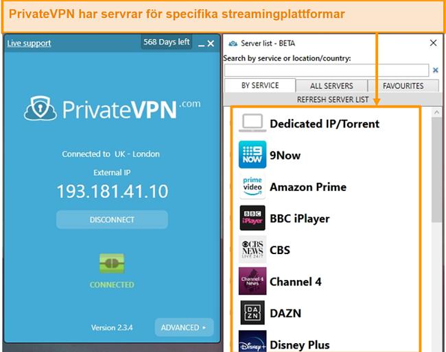 Skärmdump av PrivateVPNs Windows-app som visar dess optimerade streaming-servrar.