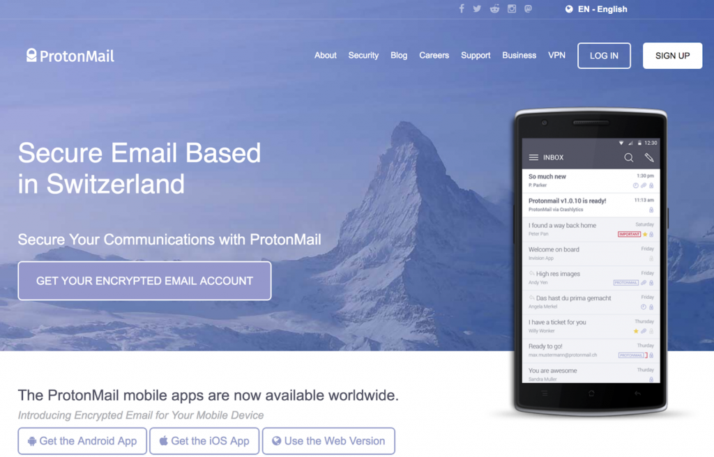 Screenshot of ProtonMail homepage
