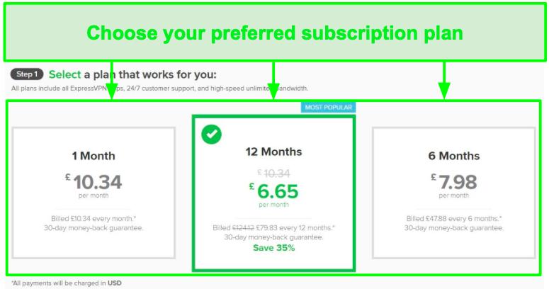 Screenshot of ExpressVPN subscription plans.