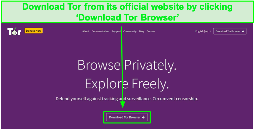 Screenshot of Tor's official website.