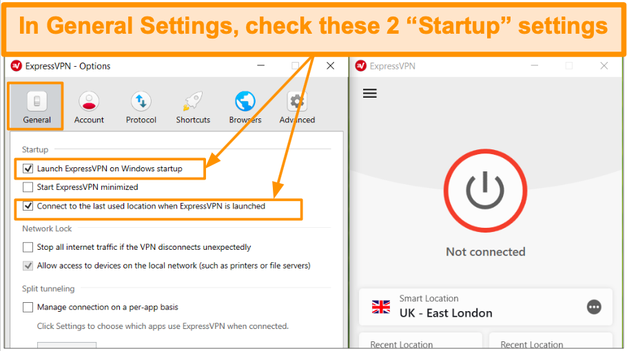 Screenshot of General Settings and how to launch ExpressVPN at startup