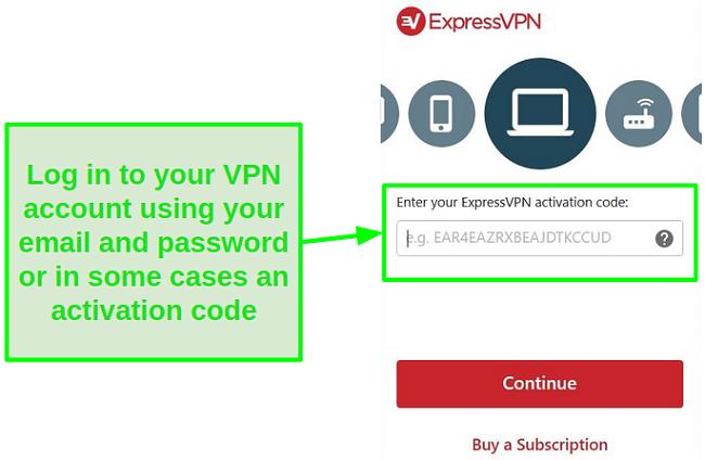Screenshot of ExpressVPN desktop app log in
