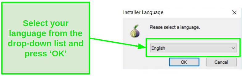 Screenshot of Tor Installation Guide's language option
