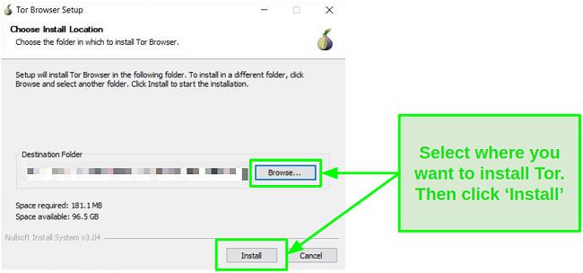 Screenshot of Tor's Installation Guide