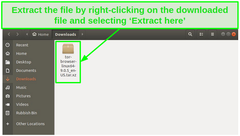 Screenshot of a downloaded Tor file on Linux