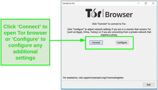 Screenshot of options to connect to the Tor home page or configure additional settings