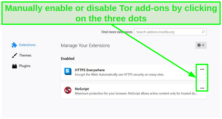 Screenshot of Tor's add-ons settings