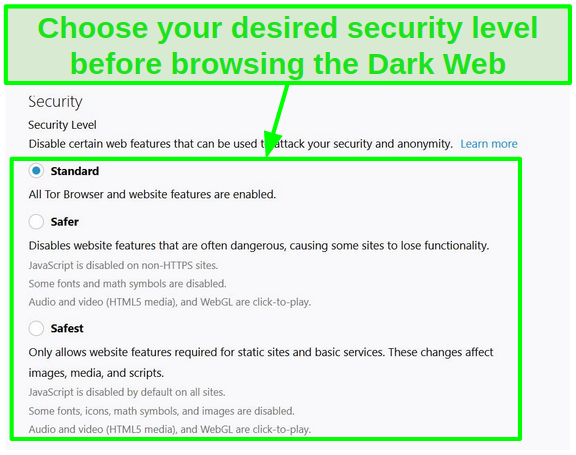 Screenshot of Tor's security level options