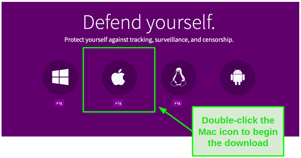 Double-click the Mac icon to begin the download.
