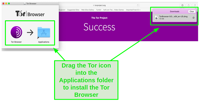 Drag the Tor icon into the Applications folder.