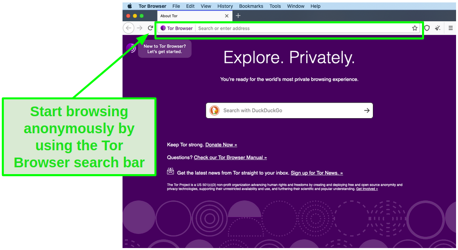 Use the Tor Browser search bar to browse anonymously.