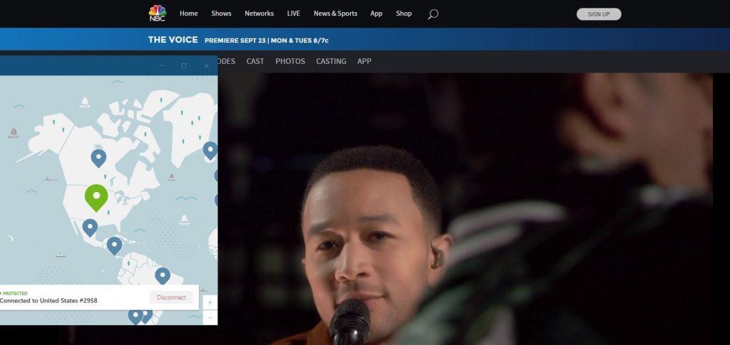 The Voice on NBC with NordVPN