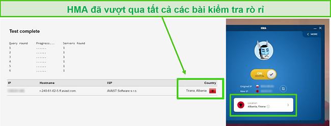 Ảnh chụp màn hình HMA vượt qua bài kiểm tra DNS khi được kết nối với máy chủ Albania.