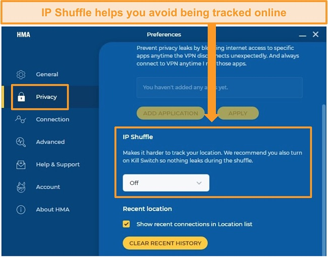 Screenshot of HMA's IP Shuffle setting, allowing users to periodically change their IP address.