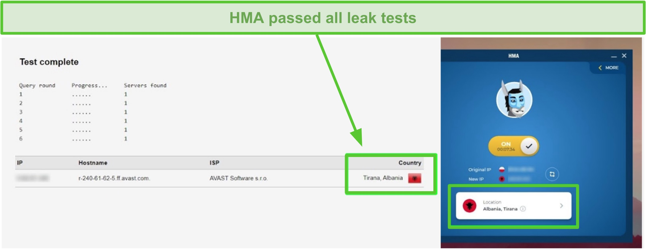 Screenshot of HMA passing a DNS test while connected to an Albanian server.