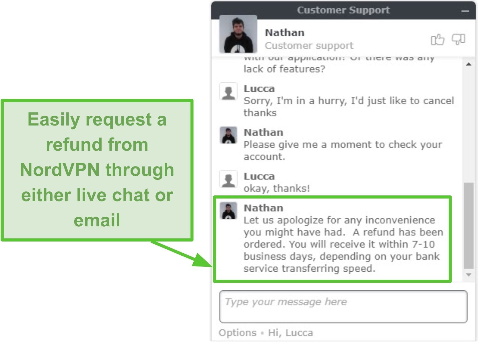 Screenshot of NordVPN refund being approved through live chat