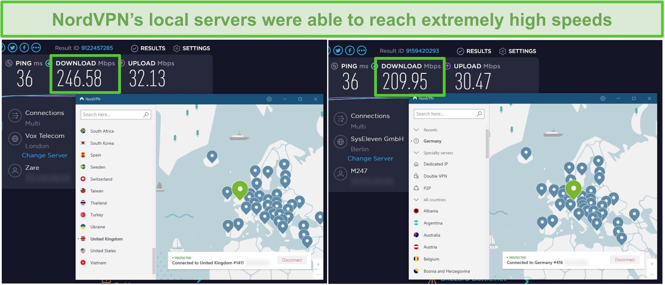 Screenshot of NordVPN servers being speed tested, reaching 246 Mbps in the UK and 209 Mbps in Germany.
