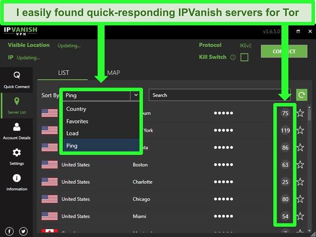 Screenshot showing IPVanish's server dropdown