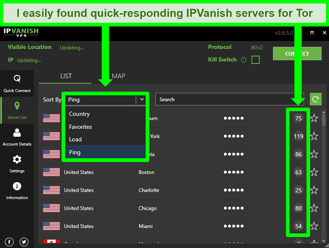 Screenshot showing IPVanish's server dropdown